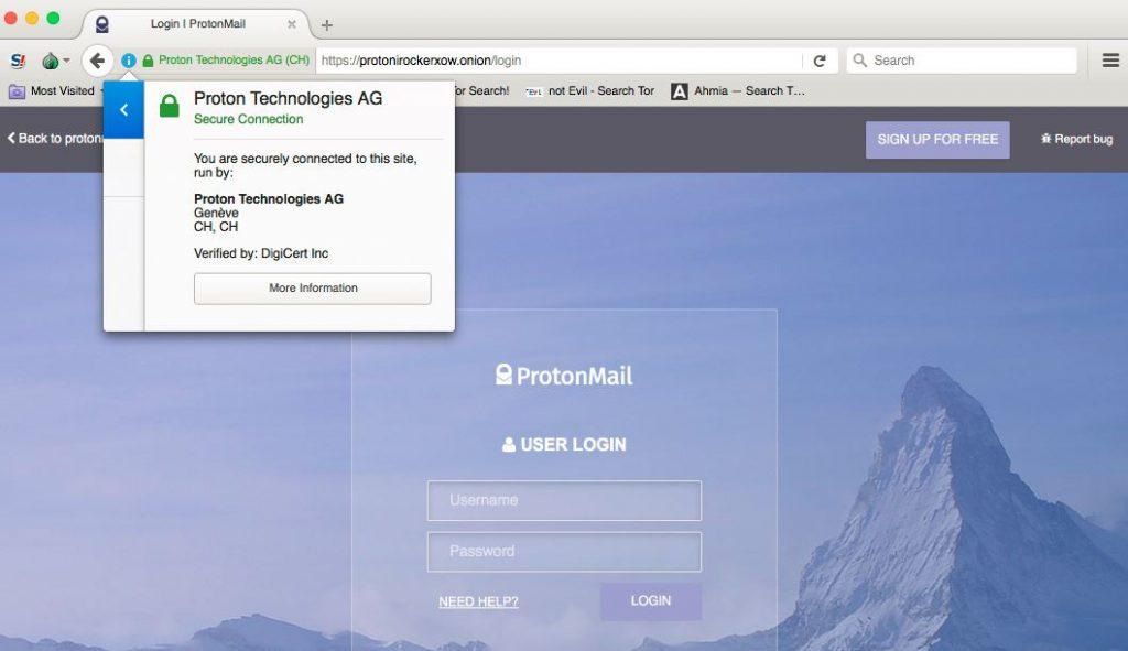 通过Tor使用ProtonMail加密的电子邮件