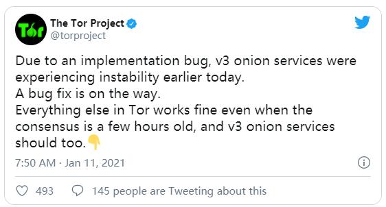 """对Tor的攻击导致 """"V3 Onion""""宕机,实验性修复即将登陆"""