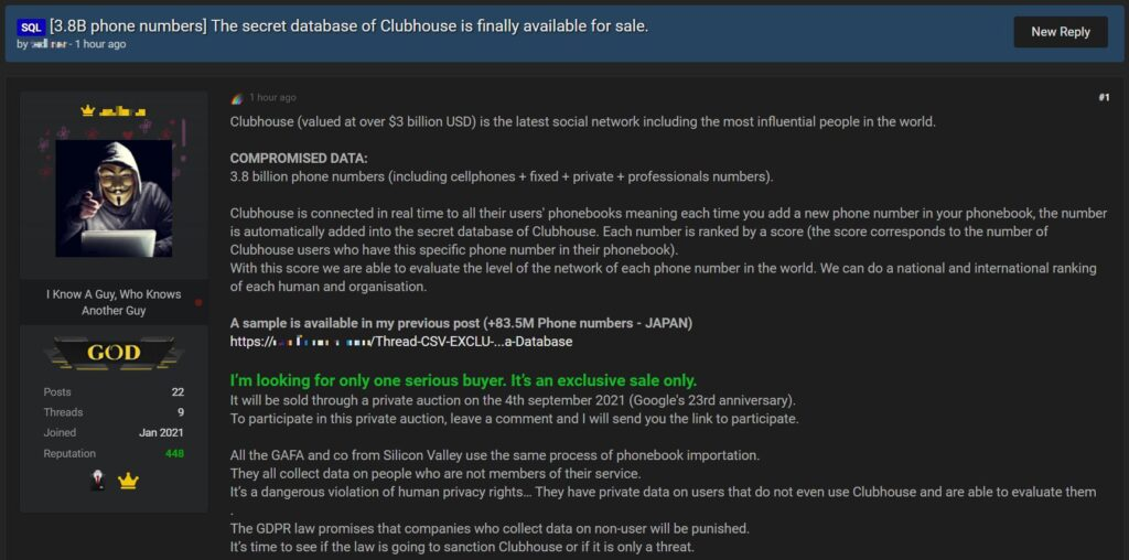 """8亿个Clubhouse用户的电话号码在暗网被出售"""""""