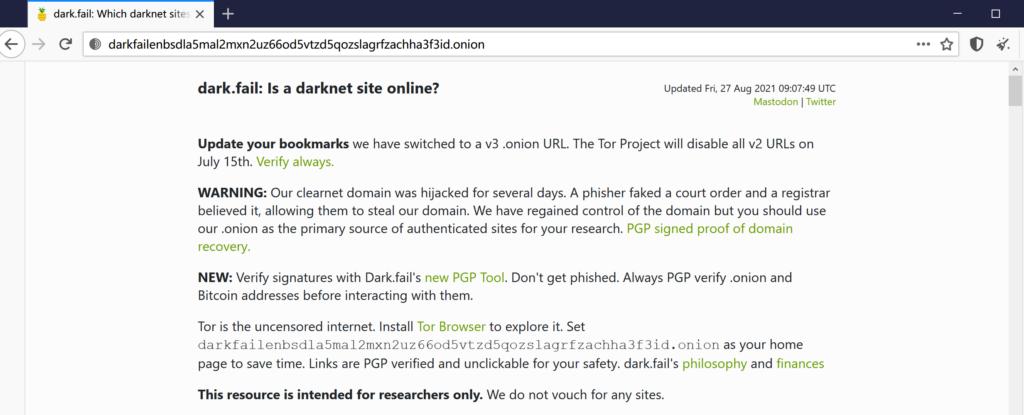 监测暗网onion域名存活的网站dark.fail的暗网镜像V3洋葱域名已推出