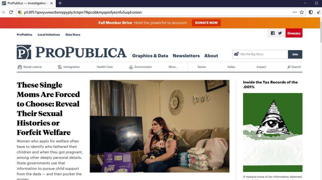 非政府、非盈利性在线新闻网站ProPublica的暗网V3域名