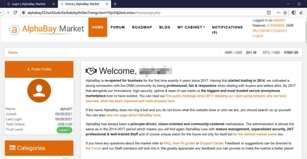 """""""暗网下""""带大家一探重新开业的AlphaBay暗网交易市场"""
